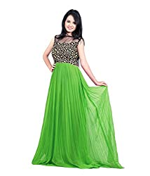 Clickedia Women Net Embroiderd Green Semi Stitched Gown