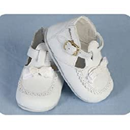 Angels Garment Baby Girls Size 2 White Buckle Bow Christening Shoes
