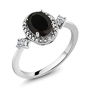 1.42 Ct Black Onyx White Topaz & Diamond Accent 925 Sterling Silver Women's Ring (Available in size 5, 6, 7, 8, 9)