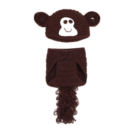 Double Baby Knit Crochet Cartoon Monkey Photo Costume Set Brown 0-24 Months