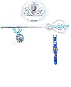 Else and Anna Four Piece Set Crown, Magic Wand, Necklace and Watch
