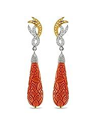 Aastha Jain Orange Resin Carved Sterling Silver(18k Gold Polish) Earring For Women