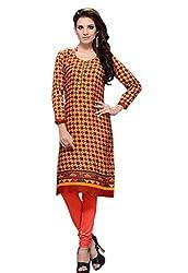 JCM Krishriyaa Women's Multi-Coloured Cotton Straight Kurti With L Size