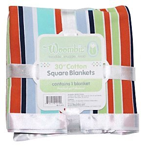 "Woombie 30"" Square Blanket - Rainbow Stripe Boy-0-12m"