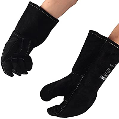 Black Iron Welding Gloves Black, 14 Inch