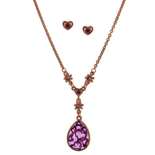 Amethyst Teardrop Necklace & Heart Earring Set