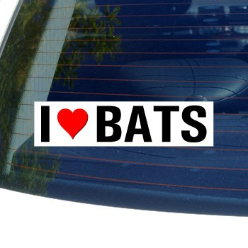 I Love Heart BATS - Window Bumper Sticker