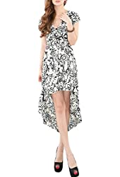 Allegra K Women's Cap Sleeveless Swirl Flowers Empire Dress