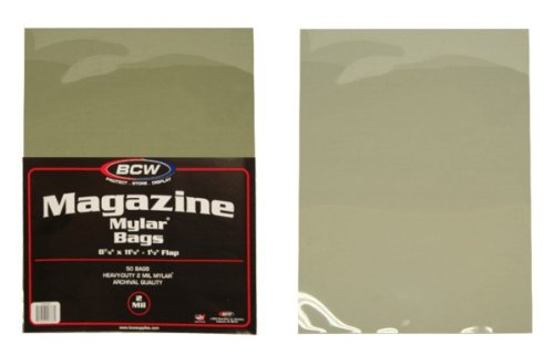 (50) Magazine Size Mylar Sleeves - 2 Mil Thick - BCW (Mylar Sheet Protectors compare prices)
