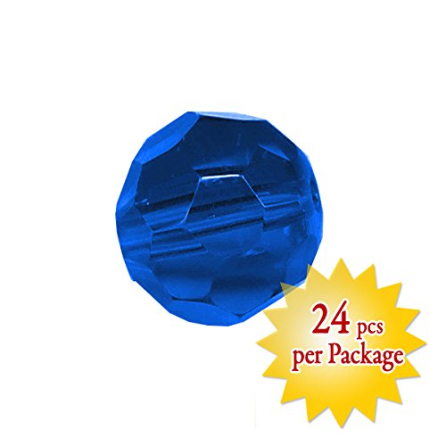 24 Pcs, Magnificent crystal 10mm Blue Sapphire Faceted Round Bead Prism, Arts & Crafts, Jewelry making, Party Decor, Wedding Decoration (Crystal Beads 10mm compare prices)
