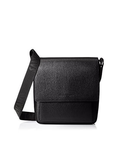 Salvatore Ferragamo Men's Leather Flap Messenger, Black