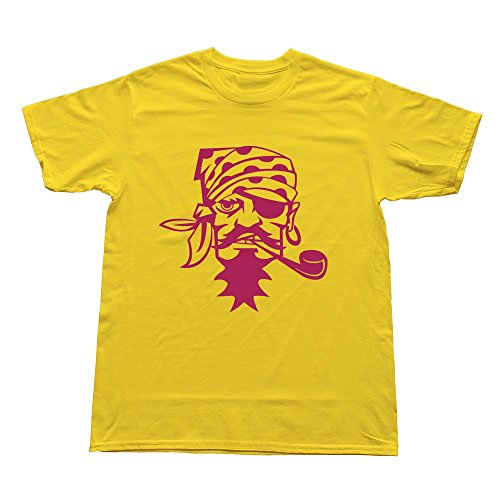 GZG Men's Pirate Caribbean Smoking Pipe Cotton T-Shirt Yellow