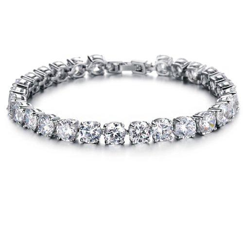 Flongo Bracciale tutti zirconi trasparente, luminoso attraente per le donne, elegante e confortevole, buon regalo per il vostro amore