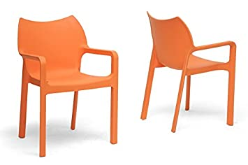Limerick Orange Plastic Stackable Modern Dining Chair with Chanasya Polish Cloth Bundle (Set of Two)