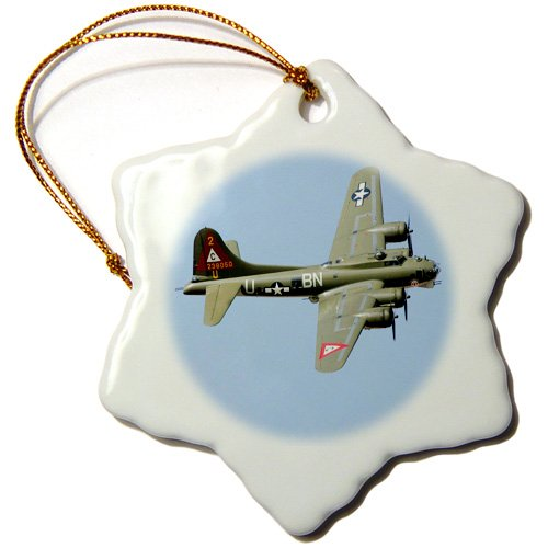3dRose orn_100377_1 Photo of B-17 Flying Fortress-Snowflake Ornament, Porcelain, 3-Inch
