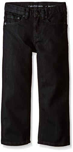 Calvin Klein Little Boys' Rebel Slim Straight Jean, Blackened Shiny Denim, 5