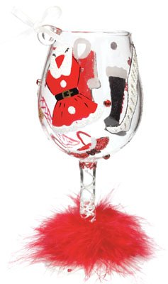 Lolita Hot Mama Claus Mini Wine Glass Christmas Ornament