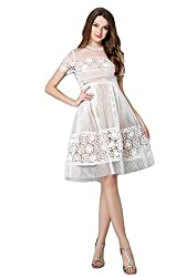 Western Fashion Heavy Lace Double Hollow Lace Waist Dress (Small, White)