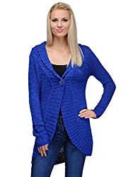 Curvy Q Full Sleeve Women's Blue Sweater