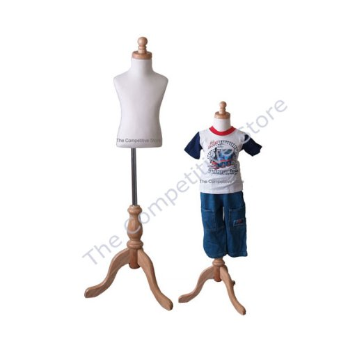 Kids 1-2 Years Child Jersey Mannequin Dress Form - Boy or Girl - White with Natural Tripod Base