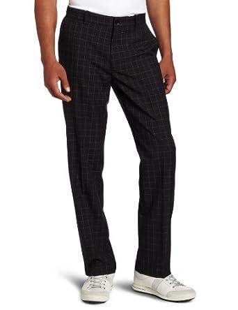 Dockers Men's Golf Microfiber Pant, Black Garner Plaid, 34x32