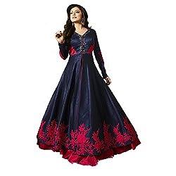 Pal Export Women's Banglori Silk Semi Stitched Dress Material (Pack of 9) (AA18_Blue_Free Size)
