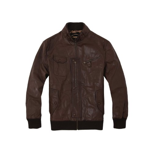 Magic power mens Leather clothing travel coat Coffee Synthetic Leather party jacket Long Stand-up collar Autumn/Winter 12 XL