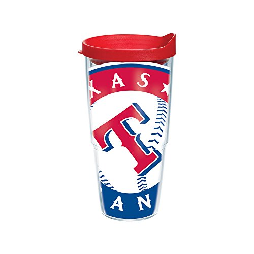 "Tervis 1080369 ""MLB Tx Rangers Colossal"" Tumbler with Red Lid, Wrap, 24 oz, Clear"