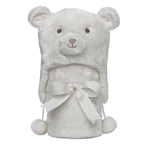 "Elegant Baby Giftable Cream Bear Aviator Hat with Fleece Lining and Soft, Cream, 30x34"" Ultra Plush, Soft Stroller Blanket"