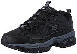 Skechers Sport Men\'s Energy Afterburn Lace-Up Sneaker,Black/Black,9 M US