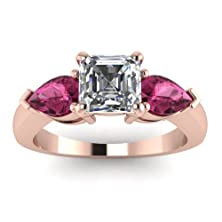 buy 1.40 Ct Asscher Cut Diamond & Pink Sapphire Engagement Ring 14K Gold Gia Certified (E Color,Vvs1 Clarity)