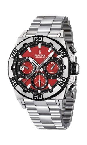 Festina F16658/8 - Reloj cronógrafo de cuarzo para hombre con correa de acero inoxidable, color plateado