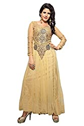 Silvermoon Girl's & Women's Net Emroidered Gown-sm_NMPHTA9002_Beige_free size