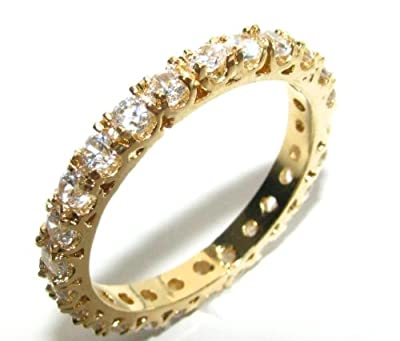 0.06ct Women's Full Eternity Prong Setting Swarovski Elements Ring. 24k Gold Electroplated. Outstanding Quality Crystal Band.