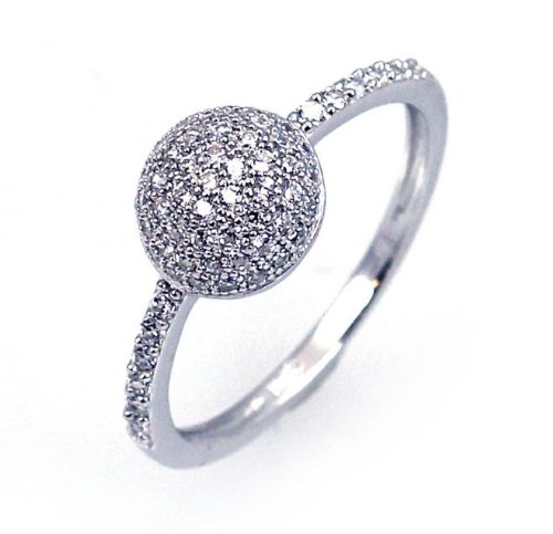 Sterling Silver Cubic Zirconia Ball Micro Pave Eternity Ring Rhodium Plated Gift Boxed
