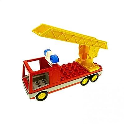 1 x Lego Duplo Feuerwehr rot gelb LKW Drehleiter Sirene Auto Fahrzeug 2033c01 9181 2691