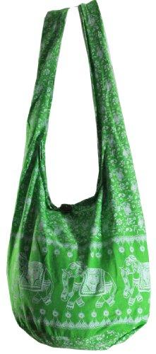 Spring Green Hippie Boho Vintage Elephant Sling Cross Body Shoulder Messenger Bag Eb38 front-291644