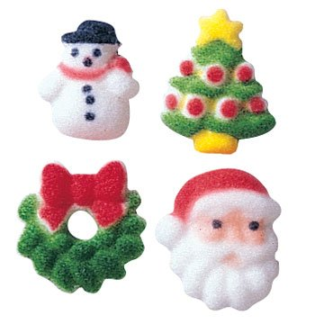 Christmas Holiday Charms Sugar Decorations Cookie Cupcake Cake 12 Count