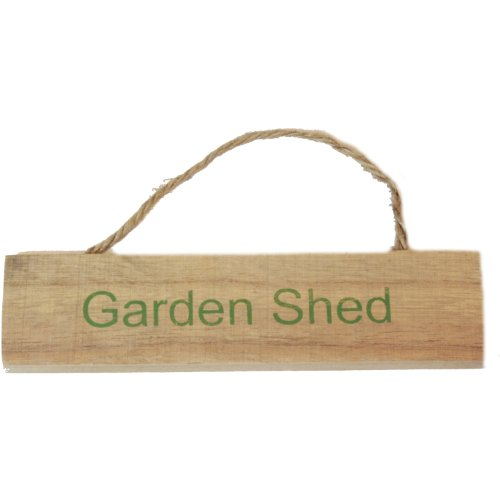 West5Products Garden Shed Shabby Vintage Chic Wooden Garden Sign Plaque w/ Hanging Twine
