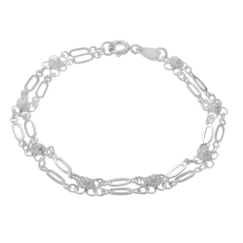Sterling Silver Flower with Links Bracelet