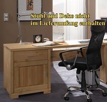 Buromöbel Schreibtisch Burotisch Computertisch Kiefer massiv geölt lackiert, Farbe:natur lackiert