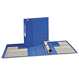 AVE79884 Heavy-Duty Vinyl EZD Ring Reference Binder, 4quot; Capacity, Blue