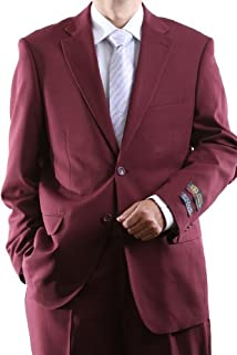 Men's Single Breasted Two Button Burgundy Dress Suit