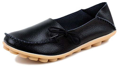 PhiFA Women's Cowhide Leather Slipper Loafers Flat Shoes Slip-Ons US Size 8.5 Black