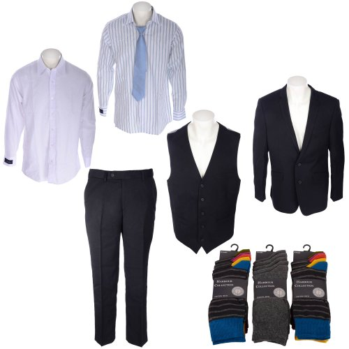 Bundle Mens Special Offer 3 Piece Suit, 3 Pack Shirt and Tie, 15 Pack Heel and Toe Stripe Socks in Size 2XL