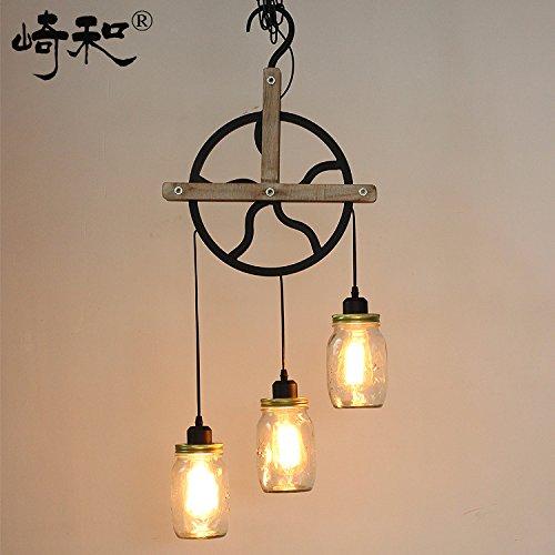 Ancernow Corda di canapa creativo semplice retrò lampade a sospensione Rullo di legno ruota in ferro Vintage Edison illuminazione per hotel, ristorante, bar, caffè e casa