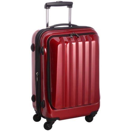 容量アップ拡張ジッパー付フロントオープンスーツケース レッド