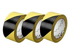 """3M Black & Yellow Hazard Warning/Safety Stripe Tape 2"""" x 36 Yard (3-Pack)"""