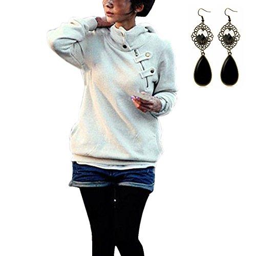 Sitengle Donna Felpe con Cappuccio Oblique Buttons Hoodies Sweatshirt Pullover Casuale Manica Lunga Cappotti Maglietta Tops