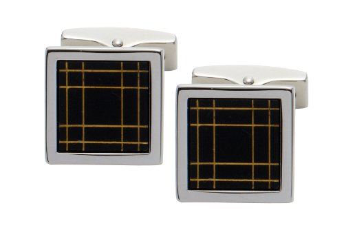 Code Red Imitation Rhodium Plated Square Cufflinks with 'Gold' Laser Engraved Lines